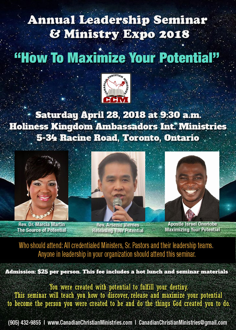Saturday April 28, 2018 - Annual Leadership Seminar & Ministry Expo 2018