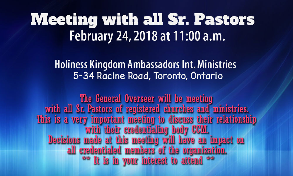 Saturday February 24, 2018 - Meeting with all Sr. Pastors